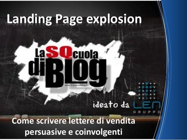 Come scrivere lettere di vendita persuasive e coinvolgenti Landing Page explosion