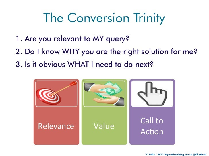 The Conversion Trinity1. Are you relevant to MY query?2. Do I know WHY you are the right solution for me?3. Is it obvious ...