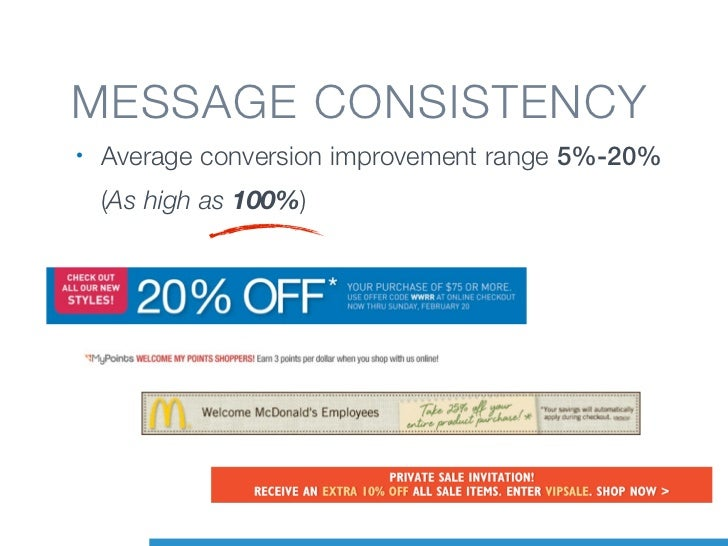 MESSAGE CONSISTENCY•   Average conversion improvement range 5%-20%    (As high as 100%)