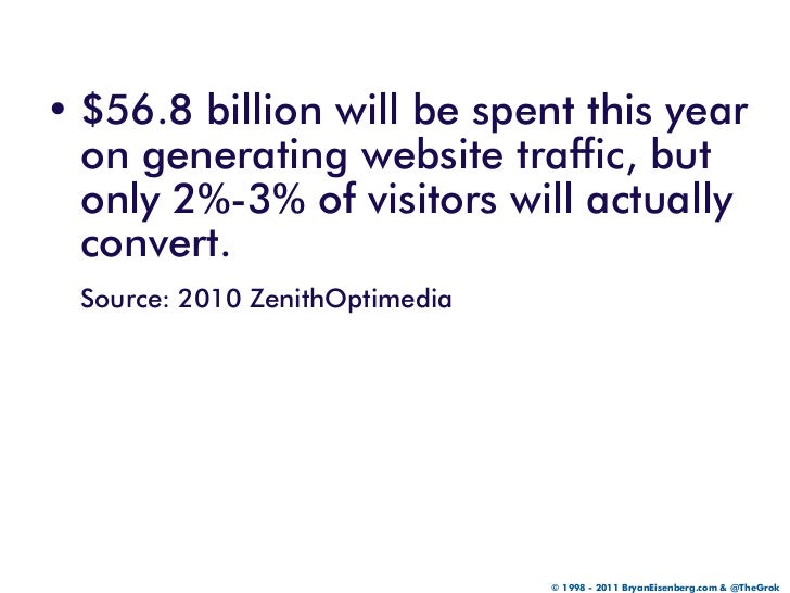 • $56.8 billion will be spent this year  on generating website traffic, but  only 2%-3% of visitors will actually  convert...
