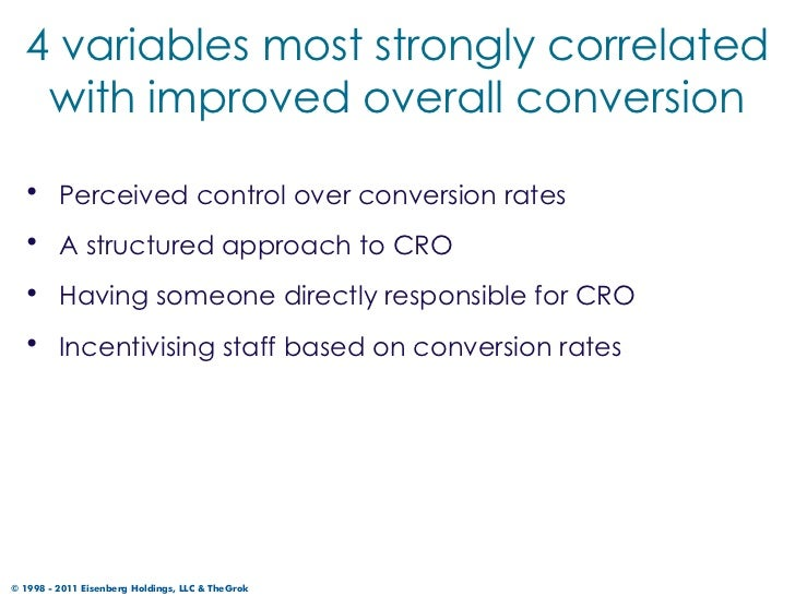 4 variables most strongly correlated   with improved overall conversion  • Perceived control over conversion rates  • A st...