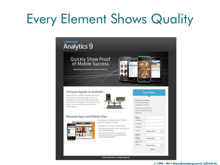 Every Element Shows Quality                    © 1998 - 2011 BryanEisenberg.com & @TheGrok