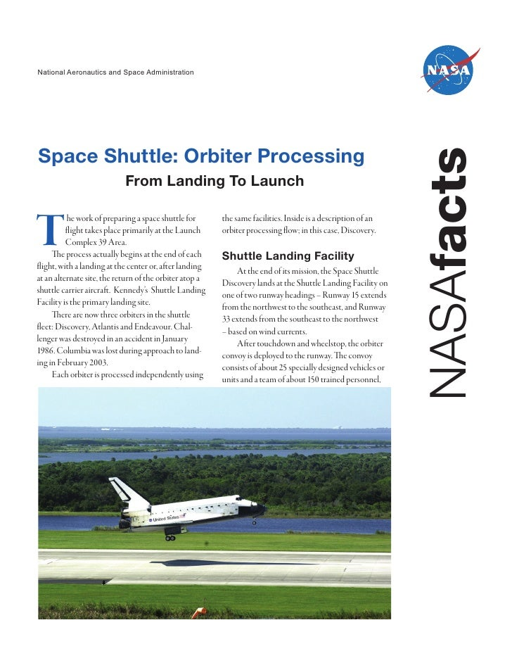National Aeronautics and Space AdministrationSpace Shuttle: Orbiter Processing                                            ...