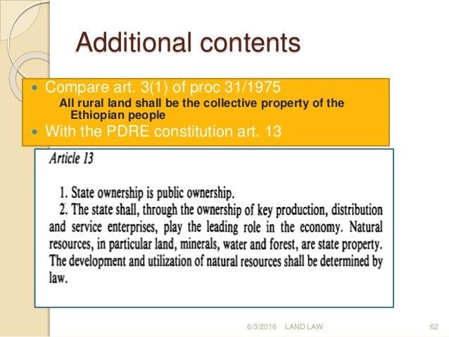 Ethiopian Property Land Law