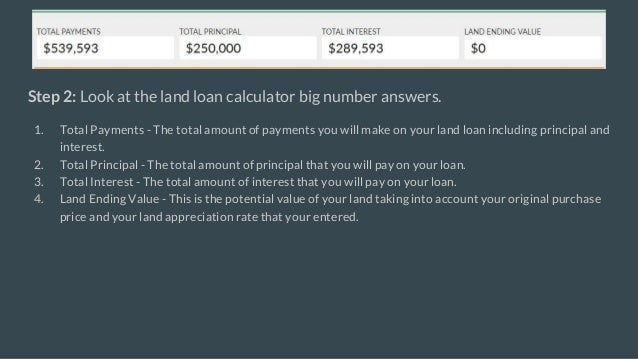 land loan calculator