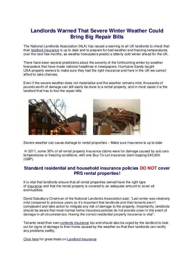 Landlords Warned That Severe Winter Weather Could                  Bring Big Repair BillsThe National Landlords Associatio...