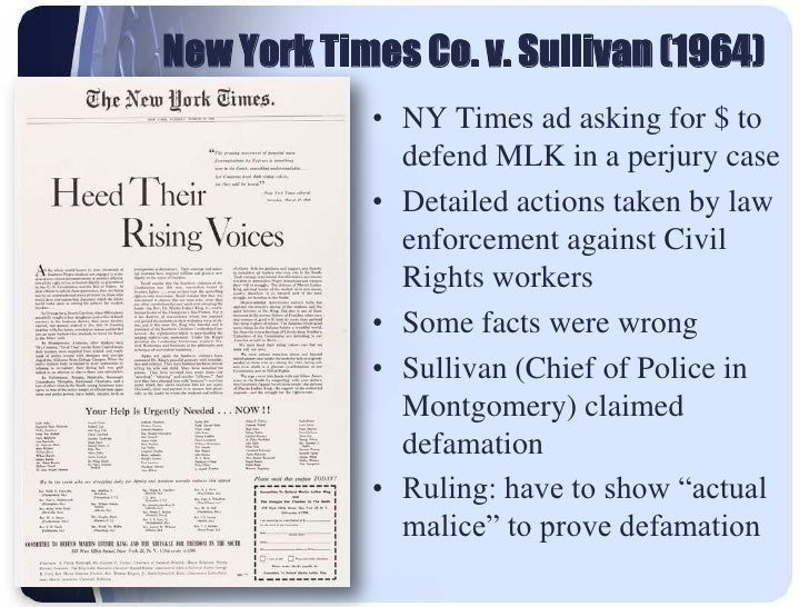 new york times v sullivan was about the suppression of speech