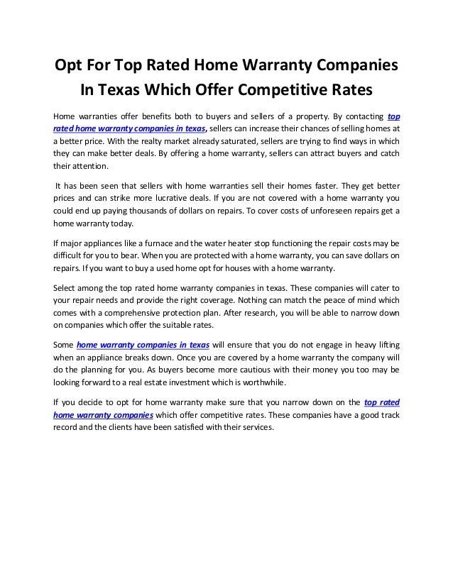 Home Warranty Companies >> Opt For Top Rated Home Warranty Companies In Texas Which