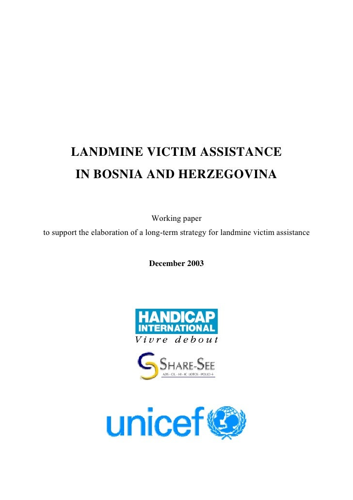 LANDMINE VICTIM ASSISTANCE          IN BOSNIA AND HERZEGOVINA                                   Working paper to support t...