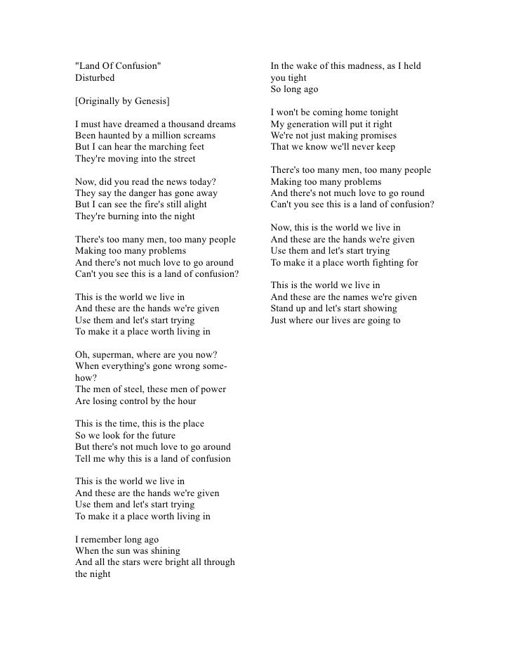 Disturbed - Land Of Confusion Lyrics | MetroLyrics