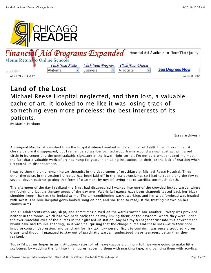 Land of the Lost   Essay   Chicago Reader                                                                       4/20/10 10...
