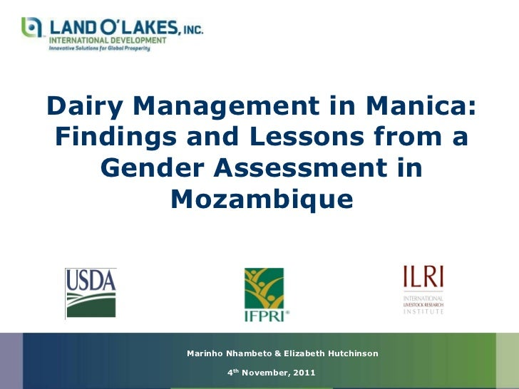 Dairy Management in Manica:Findings and Lessons from a   Gender Assessment in        Mozambique        Marinho Nhambeto & ...