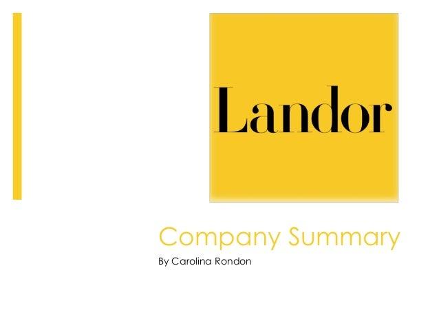 Company Summary By Carolina Rondon