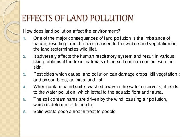 land pollution environmental science grade  7 effects of land pollution