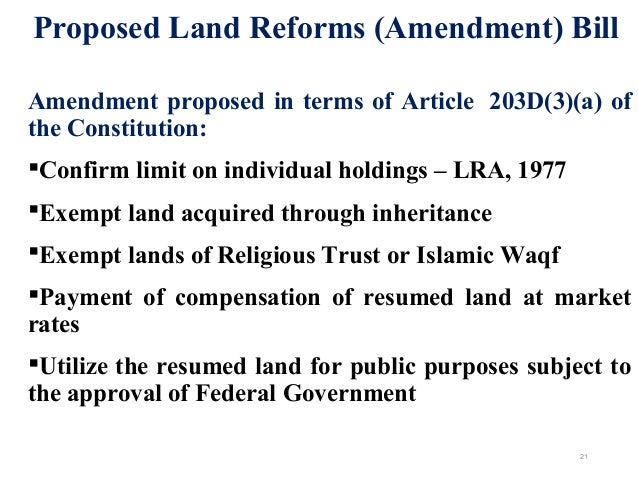 land reform proram terms Agrarian reform may or may not include land reform, in some instances there may be no need for land reform since land is already evenly distributed in other cases, it may not be politically feasible to have land reform-though it might be both politically and economically feasible to raise agricultural output through the measures involved in.
