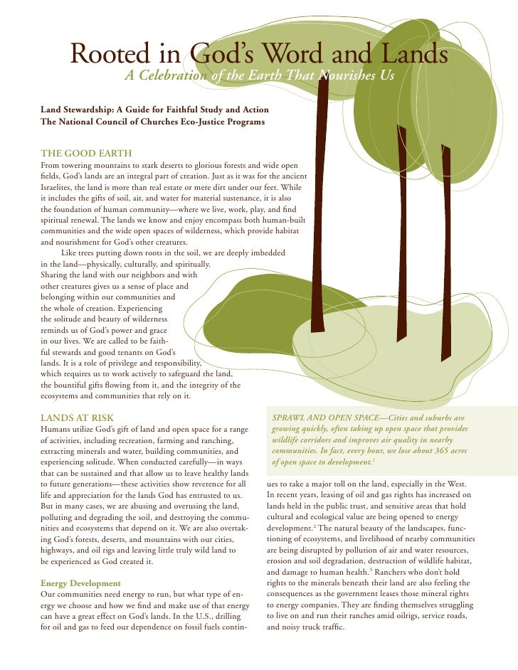 Rooted in God's Word and Lands                          A Celebration of the Earth That Nourishes UsLand Stewardship: A Gu...