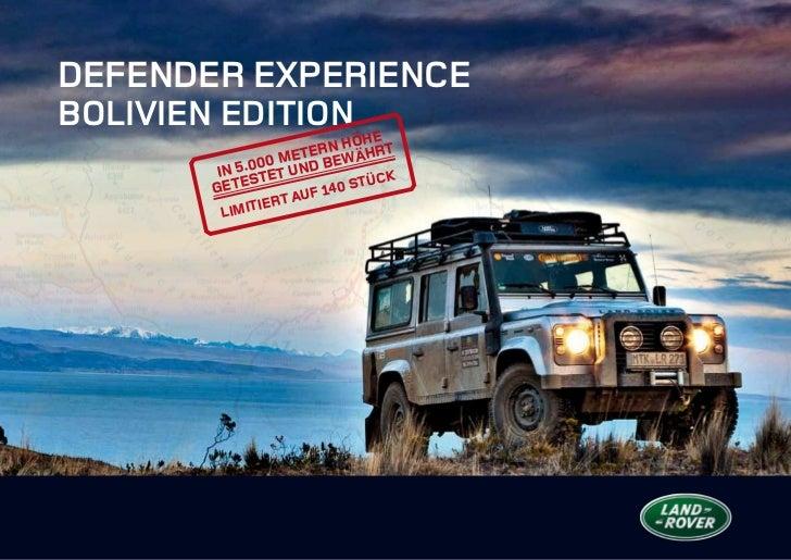 Defender ExperienceBolivien Edition                        n Höhe                   eter    ährt        In 5 .000 Mund bew...