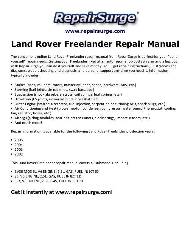 land rover freelander repair manual 2002 2005 Wrangler Engine Diagram