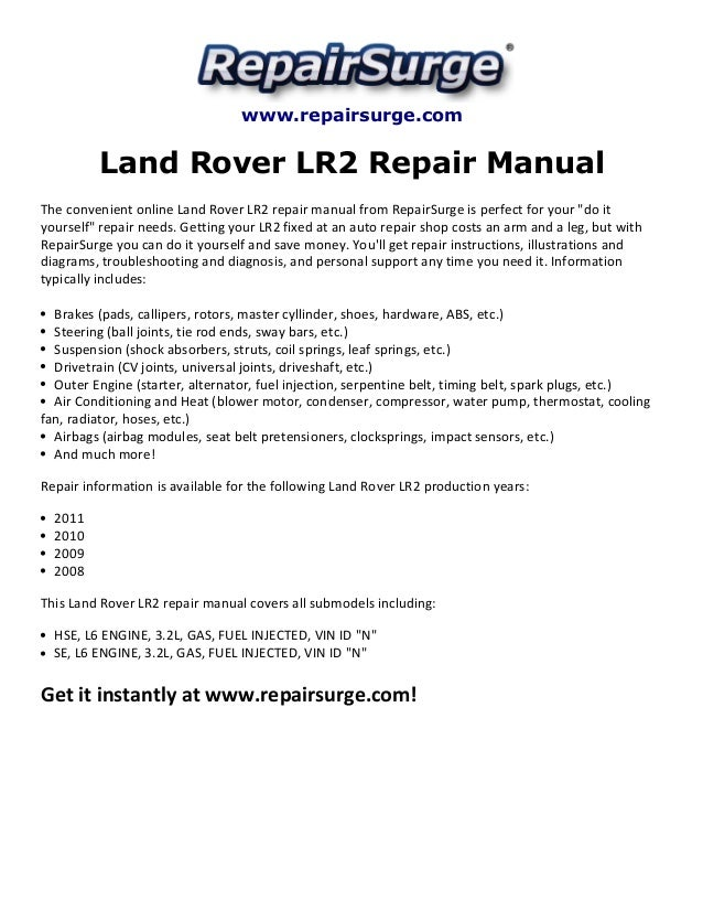 land rover lr2 repair manual 2008 2011 rh slideshare net 2013 land rover lr2 service manual lr2 owners manual