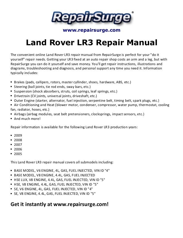 Land Rover Lr3 Repair Manual 2005 2009