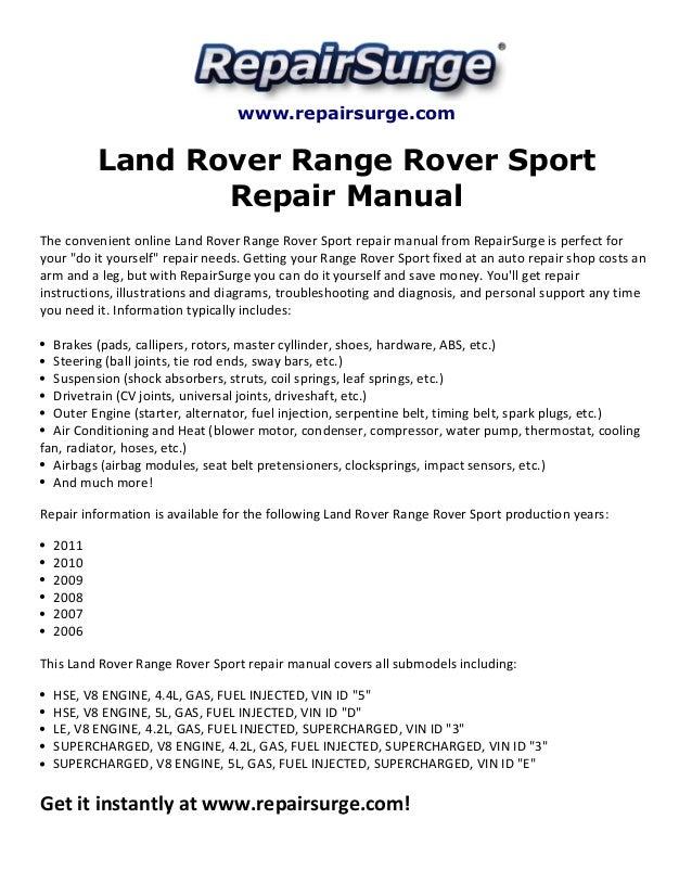 land rover range rover sport repair manual 2006 2011 rh slideshare net Range Rover Sport HSE Range Rover Sport Dimensions