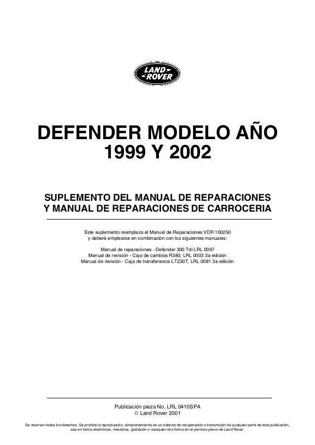 manual de reparacion land rover td5 rh es slideshare net land rover defender 110 td5 owners manual land rover defender td5 2002 manual