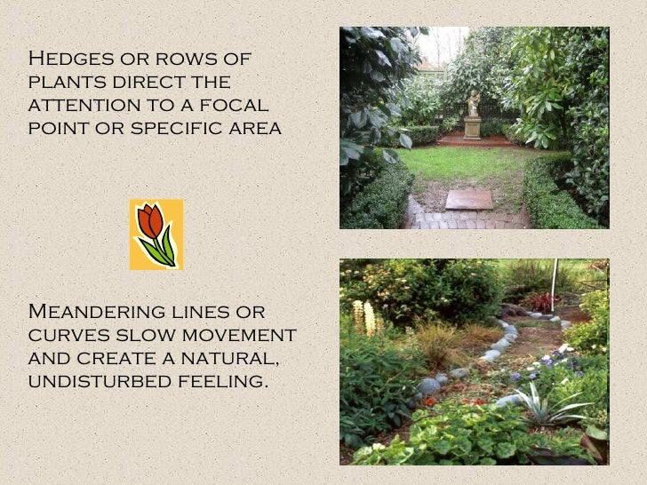 Hedges or rows of plants direct the attention to a focal point or specific area Meandering lines or curves slow movement a...
