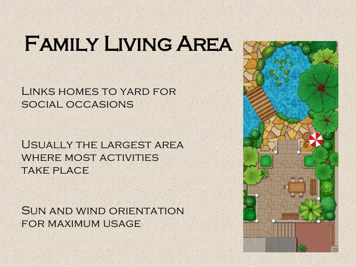 Family Living Area Links homes to yard for social occasions Usually the largest area where most activities take place Sun ...