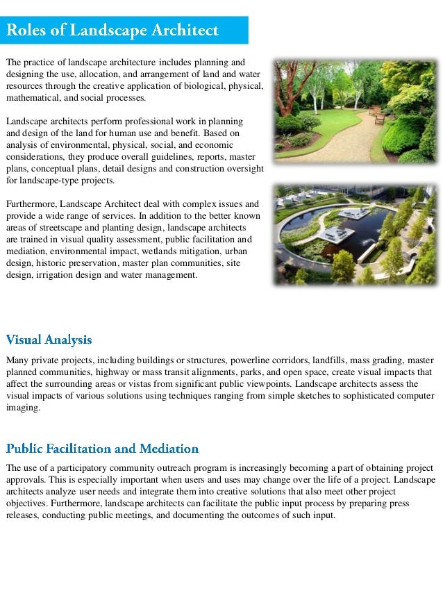 Landscape Architect Role Process And Procedure In Completing Projects