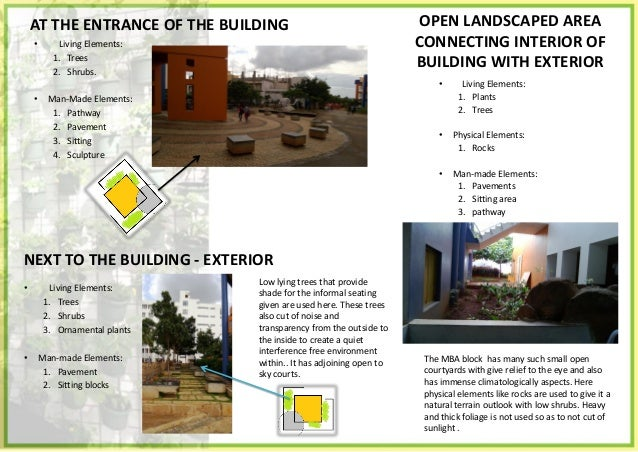 OPEN LANDSCAPED AREA CONNECTING INTERIOR OF BUILDING WITH EXTERIOR • Living Elements: 1. Plants • Physical Elements: 1. Ro...