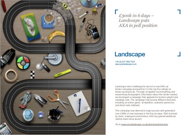 £300k in 6 days –    Landscape puts    AXA in poll position+44 (0) 207 7692 7001www.yourlandscape.co.ukLandscape were chal...