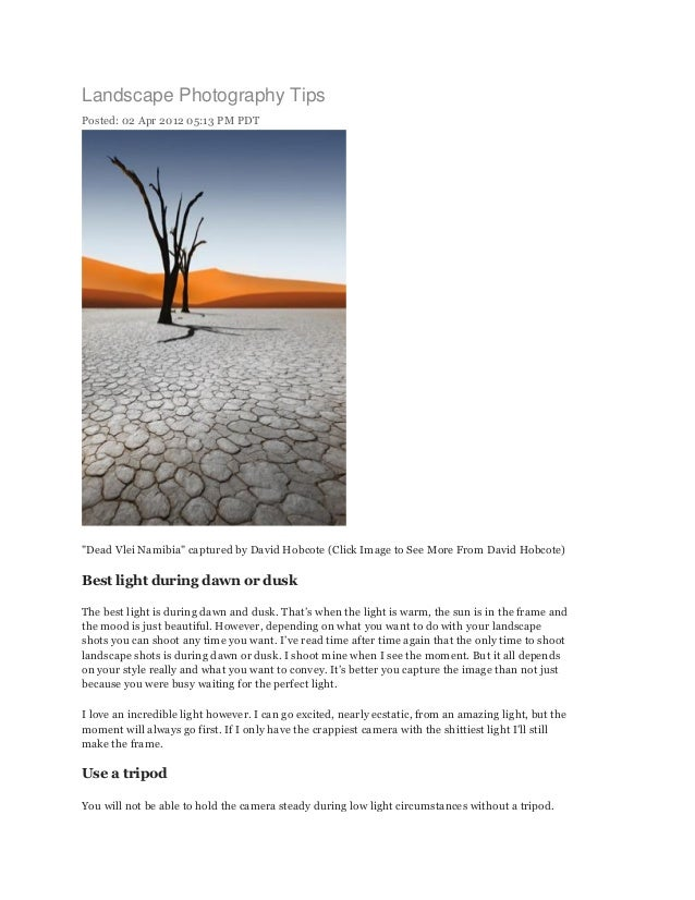 """Landscape Photography TipsPosted: 02 Apr 2012 05:13 PM PDT""""Dead Vlei Namibia"""" captured by David Hobcote (Click Image to Se..."""