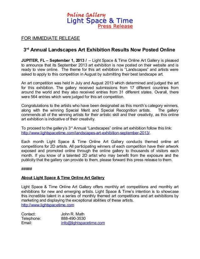 FOR IMMEDIATE RELEASE 3rd Annual Landscapes Art Exhibition Results Now Posted Online JUPITER, FL – September 1, 2013 / -- ...
