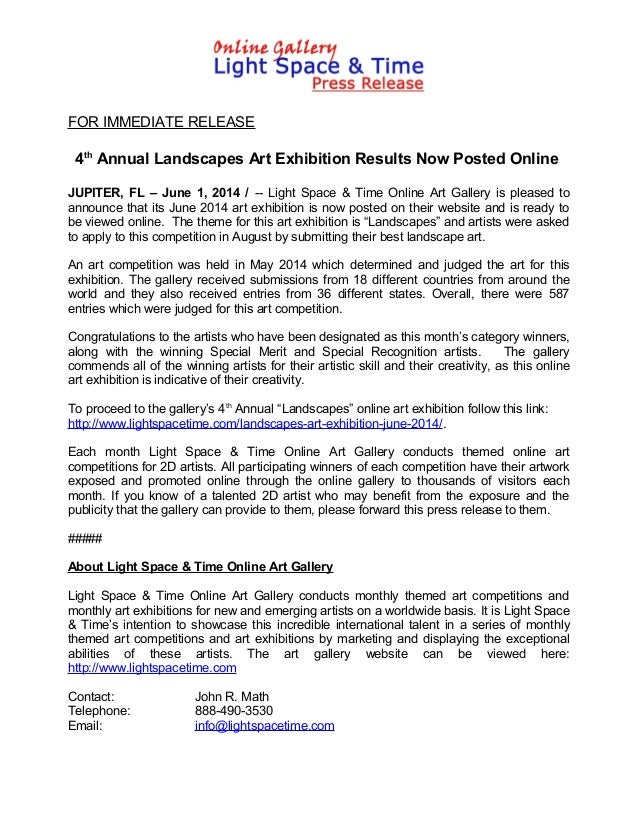 FOR IMMEDIATE RELEASE 4th Annual Landscapes Art Exhibition Results Now Posted Online JUPITER, FL – June 1, 2014 / -- Light...