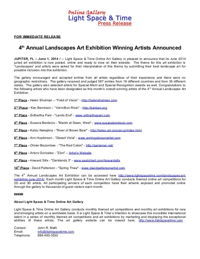 FOR IMMEDIATE RELEASE 4th Annual Landscapes Art Exhibition Winning Artists Announced JUPITER, FL – June 1, 2014 / -- Light...