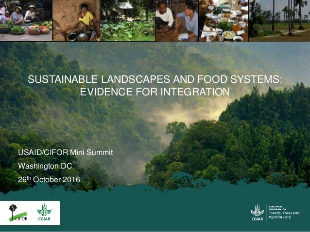 USAID/CIFOR Mini Summit Washington DC 26th October 2016 SUSTAINABLE LANDSCAPES AND FOOD SYSTEMS: EVIDENCE FOR INTEGRATION