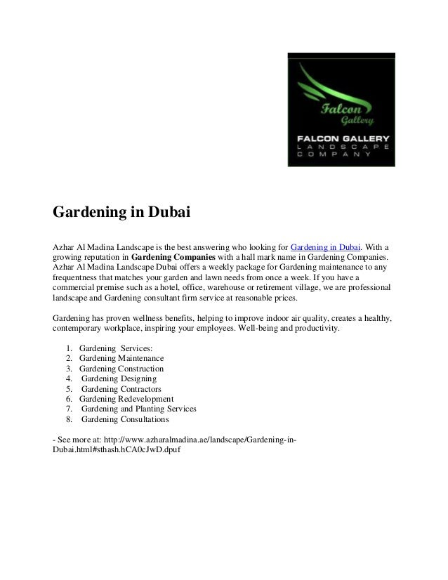 Gardening in Dubai Azhar Al Madina Landscape is the best answering who looking for Gardening in Dubai. With a growing repu...