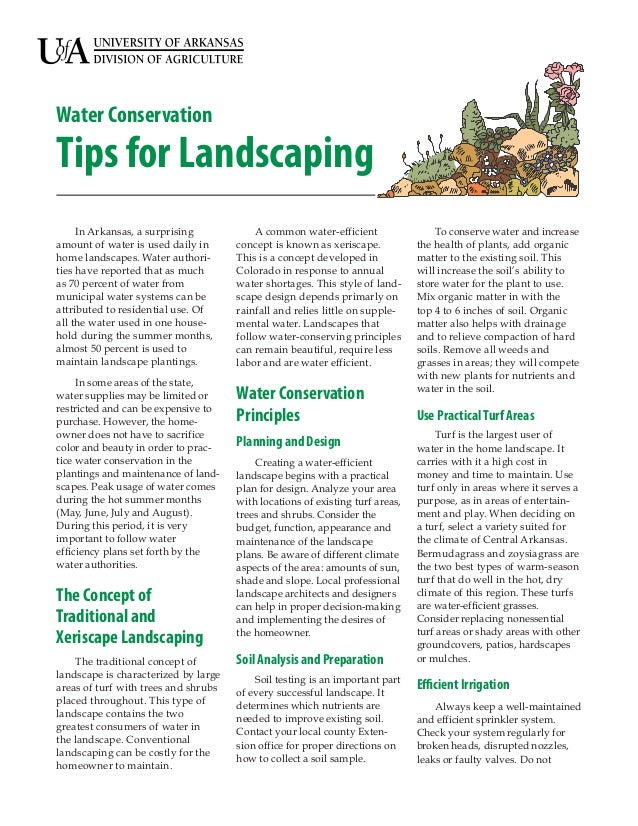 Water ConservationTips for Landscaping     In Arkansas, a surprising             A common water-efficient                T...