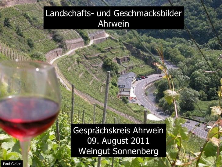 Landschafts- und Geschmacksbilder Ahrwein Gesprächskreis Ahrwein 09. August 2011 Weingut Sonnenberg Paul Gieler