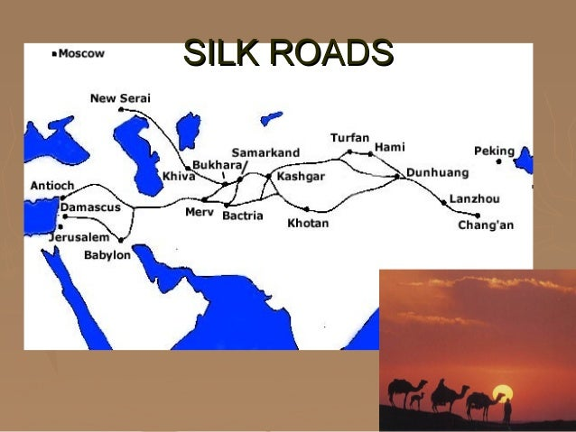 the silk road and sea trade A network of mostly land but also sea trading routes, the silk road stretched from china to korea and japan in the east, and connected china through central asia to india in the south and to turkey and italy in the west.