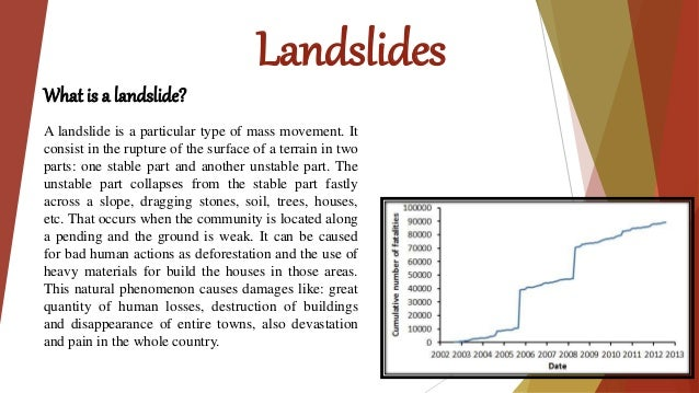 Landslides What is a landslide? A landslide is a particular type of mass movement. It consist in the rupture of the surfac...