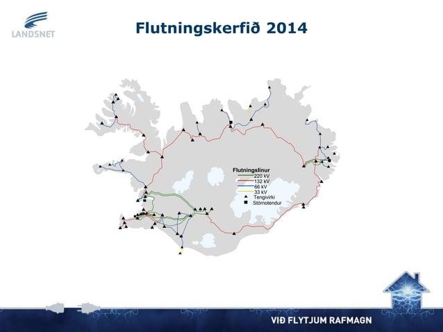 220 kV 132 kV Flutningslínur Stórnotendur Tengivirki 66 kV 33 kV Flutningskerfið 2014
