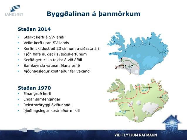 Staðan 1970 • Einangruð kerfi • Engar samtengingar • Rekstraröryggi óviðunandi • Þjóðhagslegur kostnaður mikill Grímsá Sog...