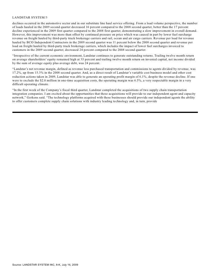Q2 2009 Earning Report of Landstar Ranger, Inc.