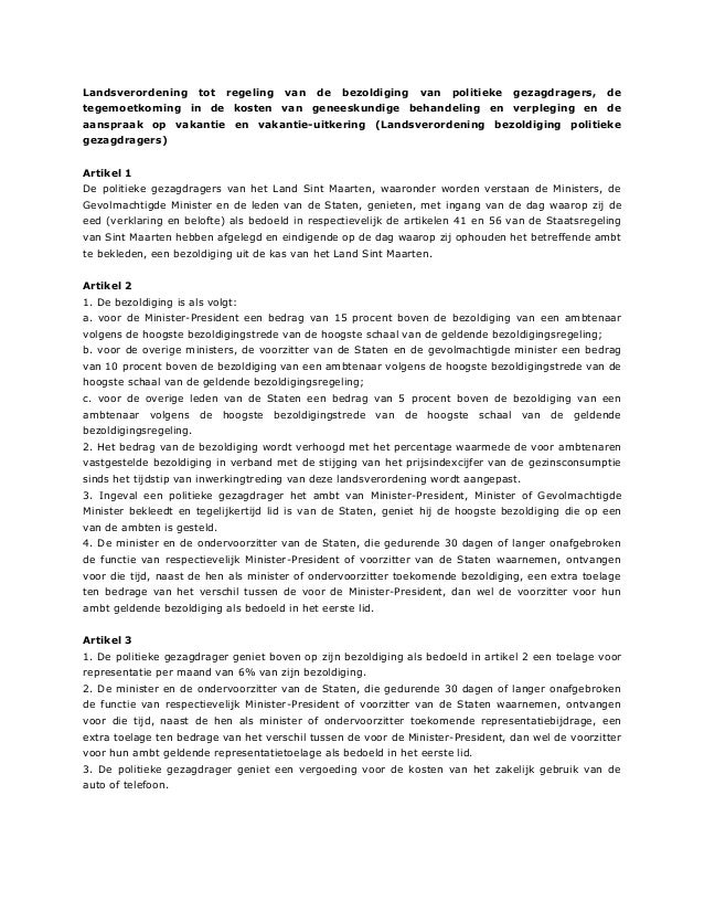 Landsverordening tot regeling van de bezoldiging van politieke gezagdragers, de tegemoetkoming in de kosten van geneeskund...