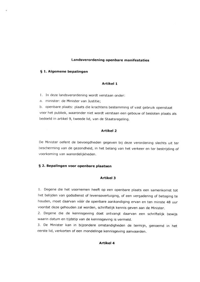 landsverordening openbare manifestaties ~ 1. Aigemene bepalingen Artikell 1. In deze landsverordening wordt verstaan onder...