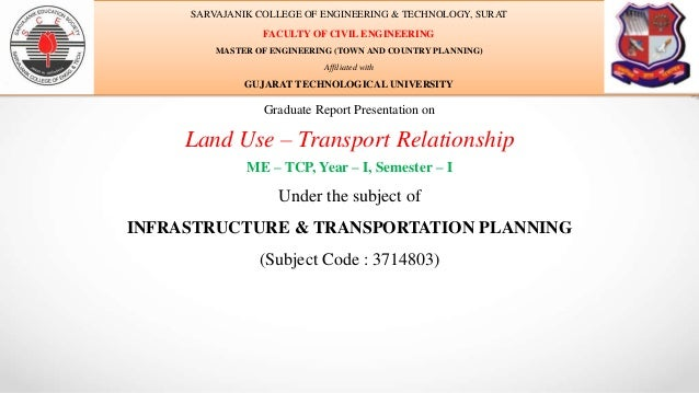 Graduate Report Presentation on Land Use – Transport Relationship ME – TCP, Year – I, Semester – I Under the subject of IN...