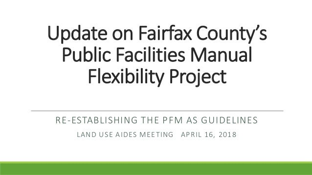 Re-establishing the PFM as Guidelines: Update to the Land