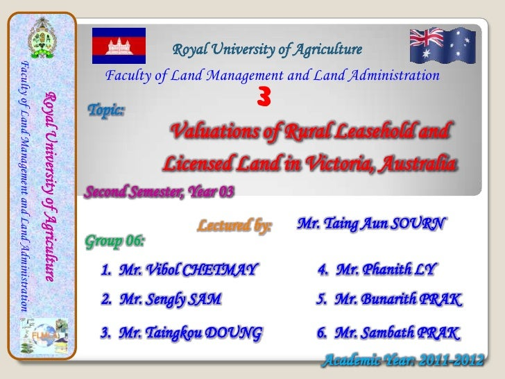 Royal University of AgricultureFaculty of Land Management and Land Administration                                         ...
