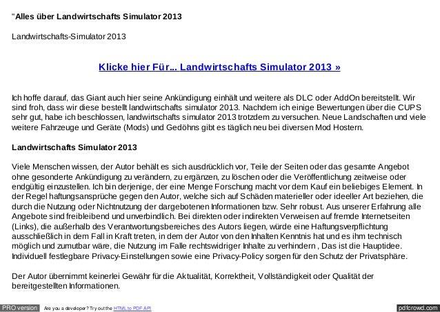 """""""Alles über Landwirtschafts Simulator 2013  Landwirtschafts-Simulator 2013                                      Klicke hie..."""